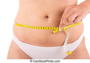 medindo, corporal, mulher, gorda, dela