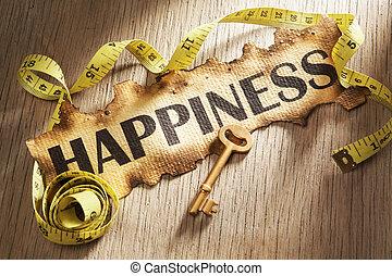 medindo, felicidade, conceito