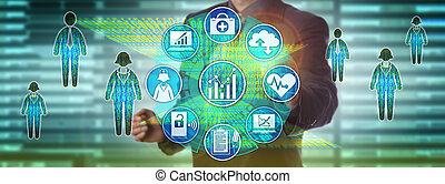 medindo, gerente, população, dados, cuidados de saúde