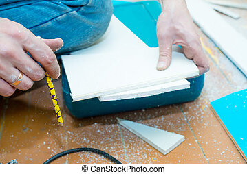 medindo, lápis, close-up, processo, painel