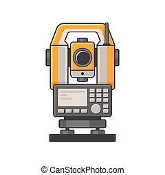 medindo, laser, nível, theodolite, tachymeter, devices., geodetic, vetorial, óptico, icon.