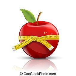 medindo, maçã, isolado, fita, fundo, branco vermelho