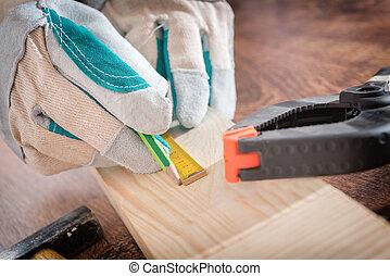 medindo, madeira, carpinteiro, prancha