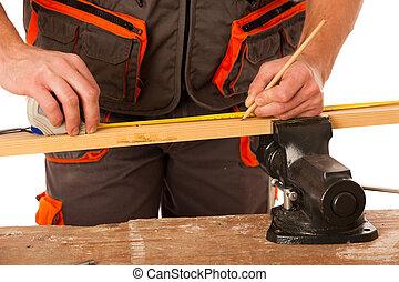 medindo, madeira, sobre, carpinteiro, isolado, oficina, fundo, branca, prancha