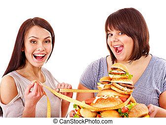 medindo, mulher, alimento, rapidamente, segurando, fita
