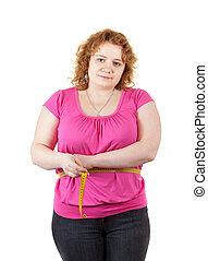 medindo, mulher, cintura, gorda
