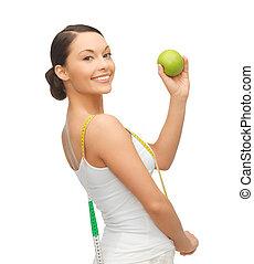 medindo, mulher, fita, sporty, maçã