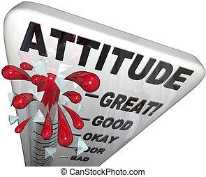 medindo, positivity, atitude, sucesso, termômetro