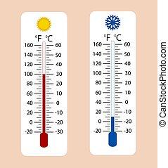 medindo, termômetros, illustration., mostrando, meteorologia, celsius, calor, gelado, fahrenheit, equipamento, quentes, vetorial, termômetro, tempo, gelado, ou