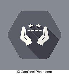 medindo, -, vetorial, mínimo, mãos, gesto, ícone