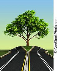 medio, árbol, camino