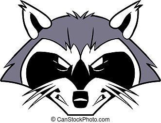 medio, áspero, caricatura, mapache, mascota