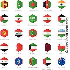 medio, bandera, asia oriental, icons.
