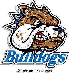 medio, bulldog, logotipo