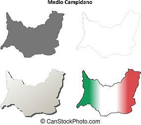 medio, campidano, blanco, detallado, contorno, mapa,...