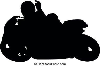medio, ciclista, turn., él, moto, dedo, polvo, exposiciones, gp, mano, motociclista, arriba, curva, asideros, el suyo, superbike, biker, pista, carrera, motocicleta, finger., usted