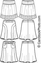 medio, dama, faldas