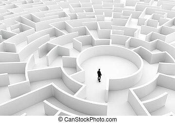 medio, desafío, hombre de negocios, laberinto, Conceptos