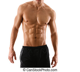 medio desnudo, sexy, cuerpo, de, muscular, hombre