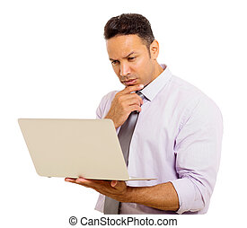 medio, edad, hombre de negocios, email de la lectura, en, el suyo, computador portatil