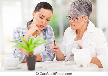 medio, edad, madre, porción, hija, con, ella, financiero
