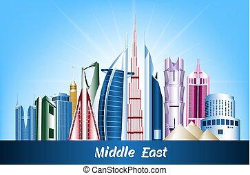 medio, edificios, este, ciudades, famoso