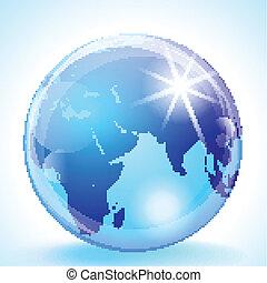 medio, globo, asia oriental, y