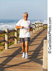medio, jogging, activo, viejo, playa, hombre