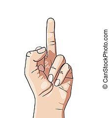 medio, mano, dibujo de dedo