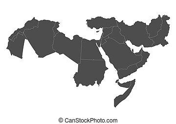 medio, mapa, este