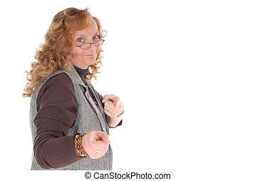 medio, mujer de negocios, viejo