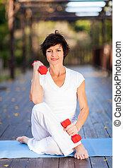 medio, mujer, ejercicio, viejo
