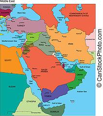 medio oriente, con, editable, países, nombres