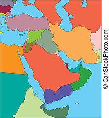 medio oriente, editable, países
