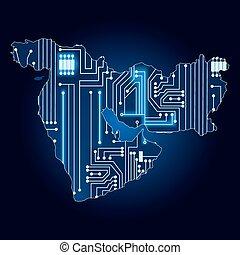 medio oriente, mapa, circuito, electrónico