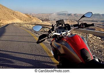 medio oriente, negev, strada, deserto, israele, cratere, motocicletta, rosso, grande