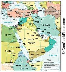 medio oriente, político, mapa