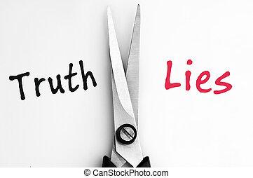 medio, tijeras, palabras, verdad, mentiras