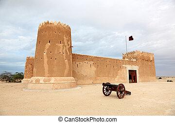 medio, zubarah, este, qatar, fortaleza