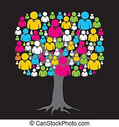 medios, árbol, red, colorido, social