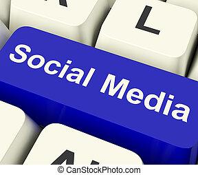 medios, actuación, en línea, comunidad, llave computadora, social