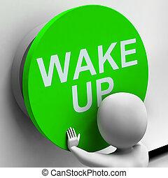 medios, alarma, arriba, mañana, estela, botón, despierto, o