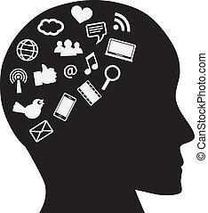 medios, cabeza, social, humano, iconos