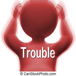 medios, carácter, problemas, dificultad, preocupaciones, problema, o