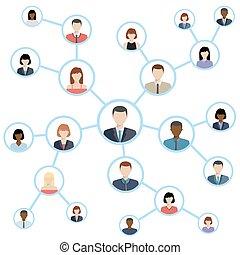 medios, concept., conexión, red, social