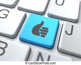 medios, concept., like-blue, social, keyboard., botón