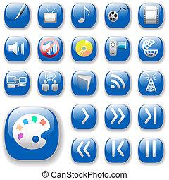 medios digitales, arte, iconos, con, azul, deje caer sombras