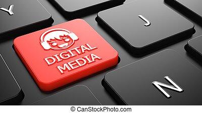 medios digitales, concepto, en, rojo, teclado, button.