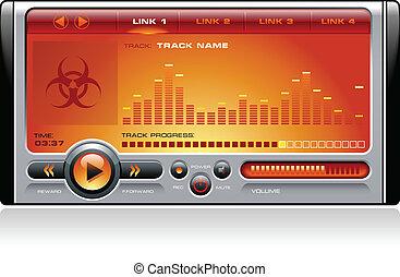 medios, estéreo, música, jugador mp3