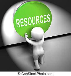medios, fondos, apretado, capital, o, recursos, personal